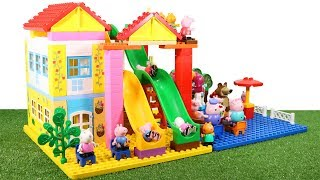 Lego Duplo House Construction Sets - Peppa Pig House With Water Slide Creations Toys For Kids