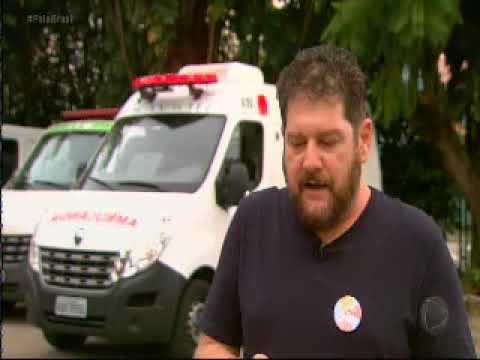Sérgio Antiqueira fala para a reportagem da Record sobre o SAMU