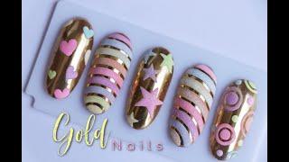 Uñas De Salón Arcoris Dorado  ♥ Deko Uñas - Gold Nails