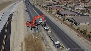 Droning an EX1200 loading highway trucks