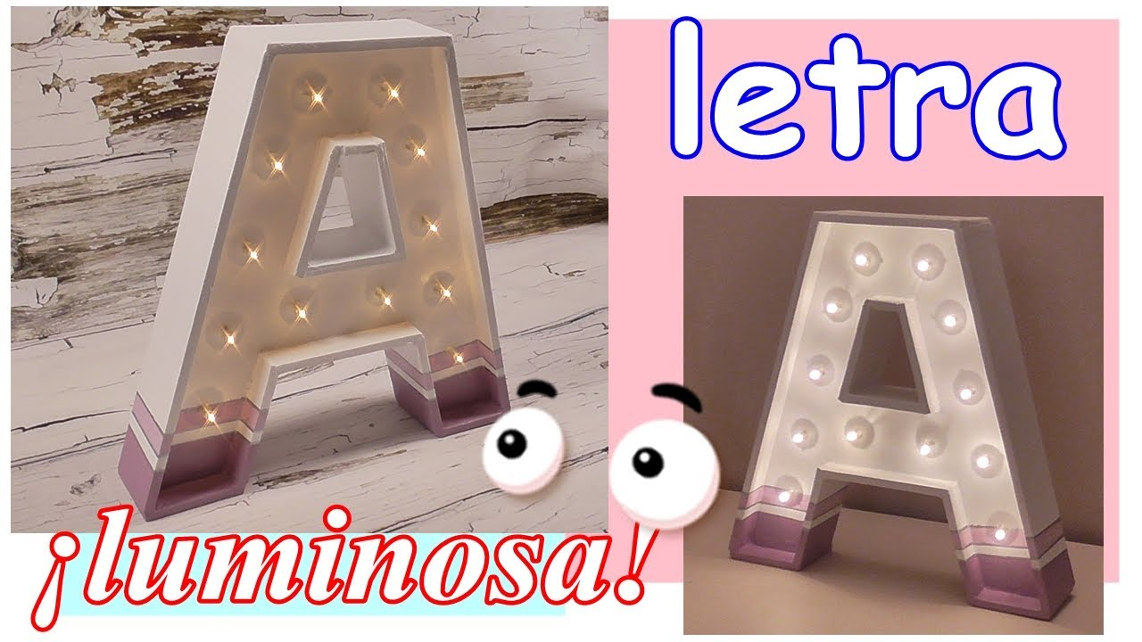 Letra luminosa hecha de cartón DIY. Lámpara decorativa. Letras en 3D