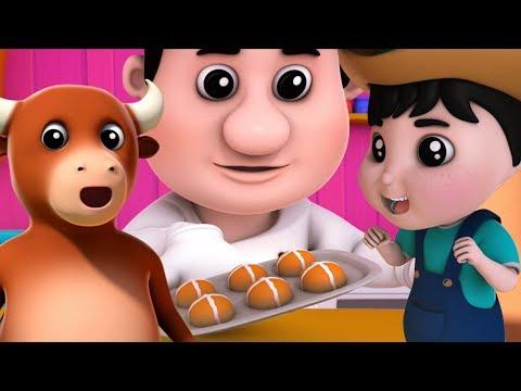 caliente cruzar Bollos   canciones infantiles   panadería tienda canción   Hot Cross Buns in Spanish