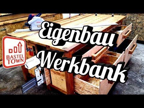 Stabile Werkbank selber bauen. Arbeitsplatte massive Eiche! Ich bin Stolz.