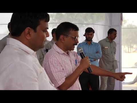 कृषि विपणन समिति, नरेला की नई अनाज मण्डी में बने नये शेडों का उद्घाटन करने पहुँचे अरविंद केजरीवाल
