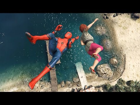 GTA 5 Water Ragdolls | Spider-Man Funny Fails ep.37  (Euphoria Physics)