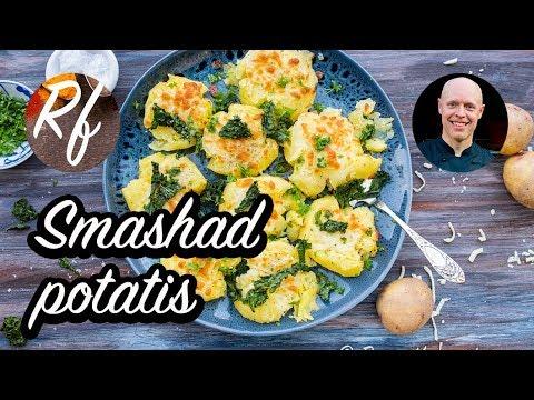 Smashad potatis med mozzarella. Min variant på
