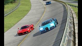 Bugatti Chiron vs McLaren P1 vs Ferrari LaFerrari vs Ferrari FXX-K at Monza Full Course 1966