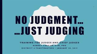 How to Judge Speech Contests (January 28, 2019)