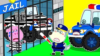 Wolf Family⭐️ Monster Truck is in Jail - Police Wolfoo Catches Bad Guy
