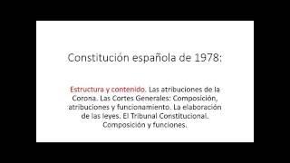 [Tramitación Procesal 2016-17] Tema 1 [Parte I] Constitucion De 1978 - Estructura Y Contenido
