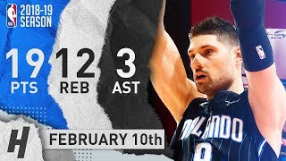 Nikola Vucevic Full Highlights Magic vs Hawks 2019.02.10 - 19 Pts, 3 Ast, 12 Rebounds!