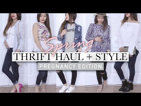 TRY ON THRIFT HAUL SPRING 2017 | Pregnancy Outift Ideas