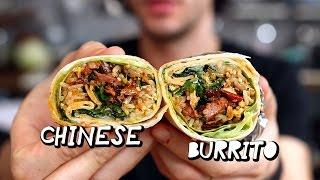 """Chinese """"Mapo Tofu"""" Burrito ! 麻婆豆腐墨西哥卷饼 !"""