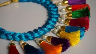 DIY || Beautiful Silk Thread Necklace With Pearls || Handmade Silk Thread Necklace