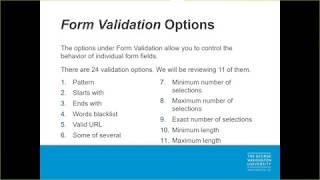 Advanced Webform Configurations & Validations