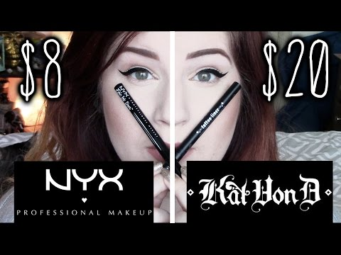 NYX EPIC INK LINER VS KAT VON D TATTOO LINER LASTING IMPRESSION REVIEW
