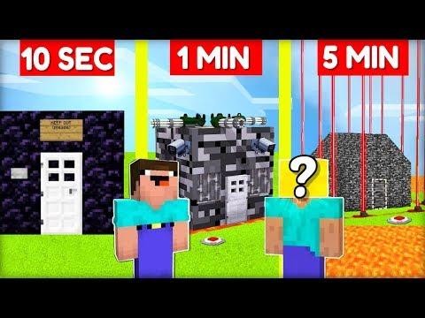 NOOB STAVÍ NEJZABEZPEČENĚJŠÍ DŮM vs. PRO za 10 SEC / 1 MIN / 5 MIN v Minecraftu!
