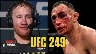 Justin Gaethje speaks with Megan Olivi on the UFC 249 Post Show to recap his victory over Tony Ferguson to win the interim lightweight title and his future vs. Khabib Nurmagomedov.  Watch the full UFC 249 Post Show on ESPN+ https://www.espn.com/watch/player?id=51347fba-5085-4085-b9ee-6c89dd982a8c  #UFC249 #ESPNMMA #UFC ✔ For more UFC, sign up for ESPN+ https://plus.espn.com/ufc ✔ Get the ESPN App: http://www.espn.com/espn/apps/espn ✔ Subscribe to ESPN on YouTube: http://es.pn/SUBSCRIBEtoYOUTUBE ✔ Subscribe to ESPN FC on YouTube: http://bit.ly/SUBSCRIBEtoESPNFC ✔ Subscribe to NBA on ESPN on YouTube: http://bit.ly/SUBSCRIBEtoNBAonESPN ✔ Watch ESPN on YouTube TV: http://es.pn/YouTubeTV  ESPN on Social Media: ► Follow on Twitter: http://www.twitter.com/espn ► Like on Facebook: http://www.facebook.com/espn ► Follow on Instagram: http://www.instagram.com/espn  Visit ESPN on YouTube to get up-to-the-minute sports news coverage, scores, highlights and commentary for NFL, NHL, MLB, NBA, College Football, NCAA Basketball, soccer and more.   More on ESPN.com: http://www.espn.com