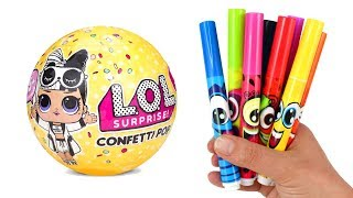 How to Draw an LOL Doll | LOL Surprise Confetti Pop Opening Drawing and Coloring for Kids