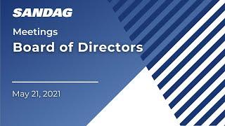 Board of Directors 2021 Regional Plan Workshop - May 21, 2021