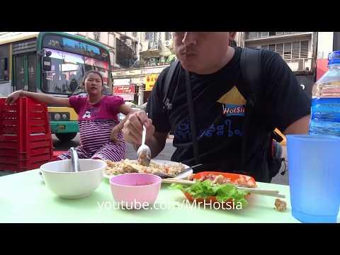 กินข้าวหมูกรอบพม่า eating burmese food in Yangon