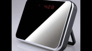 DEMO VIDEO  Mirror Face SPY cam Table Clock  Camera DVR Remote Control Hidden wireless