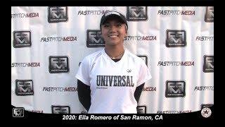 2020 Ella Romero Pitcher and Second Base Softball Skills Video