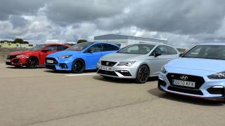 Drag Race Hyundai i30N, Ford Focus RS, Honda Civic Type R, Seat Leon Cupra