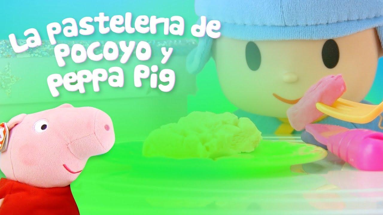 Peppa Pig y Pocoyo en la tienda de cupcakes de Play Doh