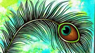 Speed Painting - Peacock Feather Tattoo Illustration - Watercolor