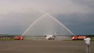 Новый рейс в аэропорту Саранска встретили пожарные