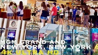Mgm grand and New York New York, Las Vegas (Walking tour 4k)