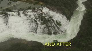 Medina Lake overflows due to large amounts of rain and Drone gets footage