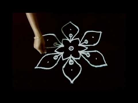 KOLAM DESIGNS WITH 7 X 4 DOTS/Simple rangoli/Daily muggulu/7 x 4 dots rangoli/Muggulu designs