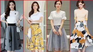 Most Beautiful And Elegant Designer Midi Skirts /Blouse Design For Stylish Girls