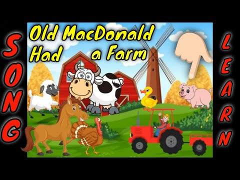 Old MacDonald Had a Farm animated song- full version. Nursery Rhyme Songs for kids, children.