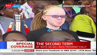 Uhuru recognizes the presence of top KCPE performer, Goldalyn Kakuya in the inauguration crowd