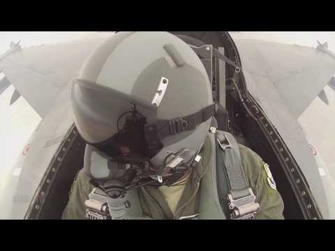 F-16 Cockpit View Live Fire Exercise