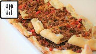 Пиде с мясом - Турецкая Пицца с начинкой. Турецкая лепешка с начинкой. Рецепт Пиде.