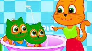 Família de Gatos - Máscara Facial para Bebês Desenho Animado em Português Brasil