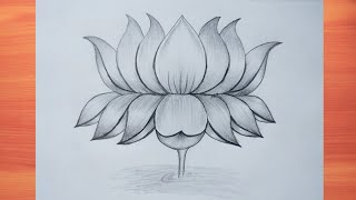 How To Draw Beautiful Lotus Flower With Pencil    Muskan Drawing And Art   