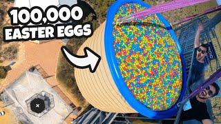 100,000 Easter Eggs Vs. Trampoline from 45m