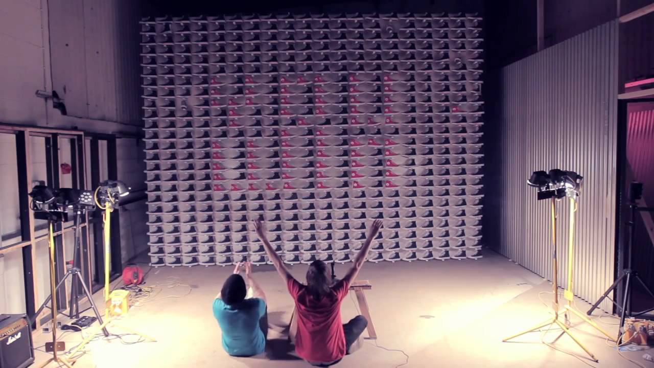 Playing Space Invaders With 480 Pairs Of Sneakers