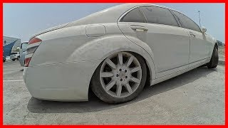 Abandoned Mercedes Benz EMC S350. Luxury Mercedes car abandoned in Dubai