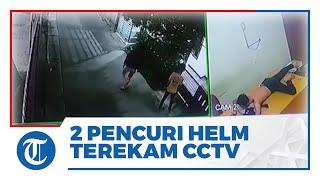 Aksi Dua Remaja di Ciputat Curi Helm Terekam CCTV, Alasan Mencuri untuk Uang Jajan