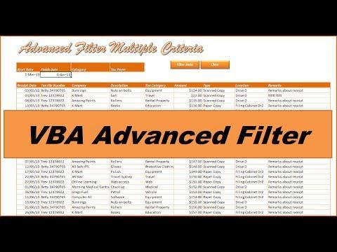VBA Advanced Filter - Filter any Excel Database 2013