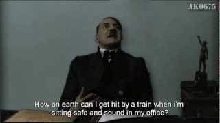 Hitler is informed he's going to get hit by a train.