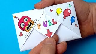 DIY Pull Tab Origami With Funtime Freddy From FNaF   Surprise Letter Folding Origami