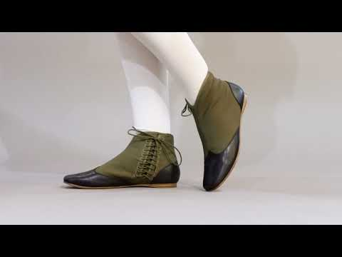 PRE-ORDER Keckley Victorian Side-Lace Boots (Green/Black)(1820-1860)