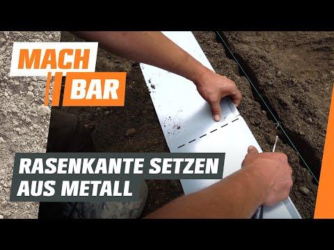 Rasenkante aus Metall einbauen   OBI